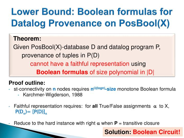 Lower Bound: Boolean formulas for Datalog Provenance on