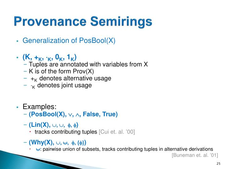 Provenance Semirings