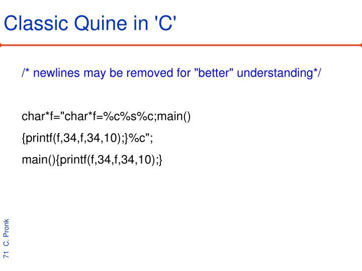 Classic Quine in 'C'