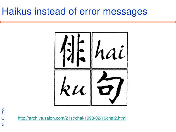 Haikus instead of error messages