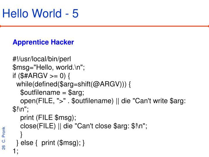 Hello World - 5
