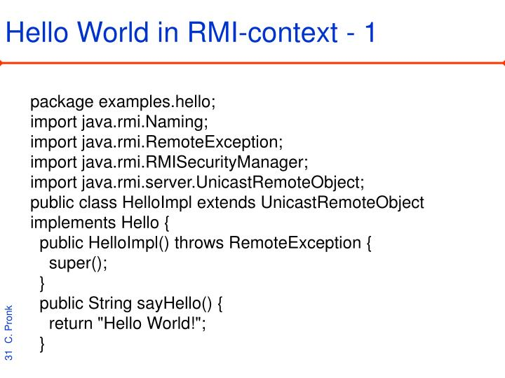 Hello World in RMI-context - 1