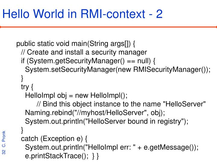 Hello World in RMI-context - 2