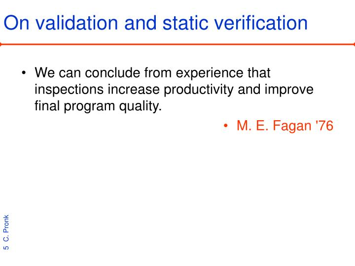 On validation and static verification