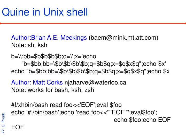 Quine in Unix shell