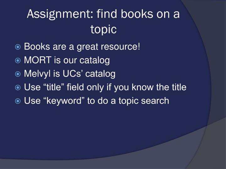 Assignment: find books on a topic