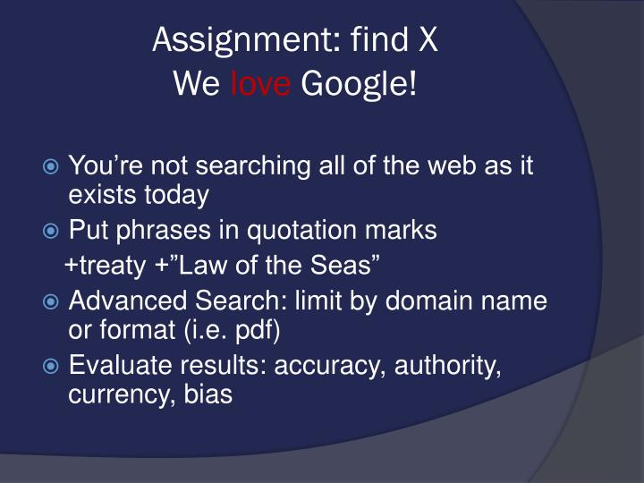 Assignment: find X