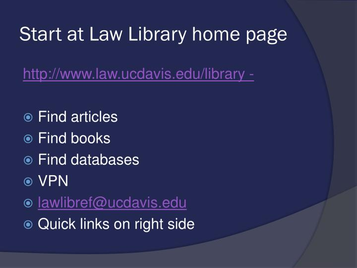 Start at Law Library home page