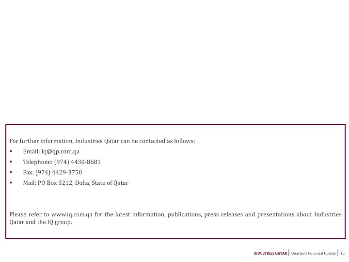 For further information, Industries Qatar can be contacted as follows: