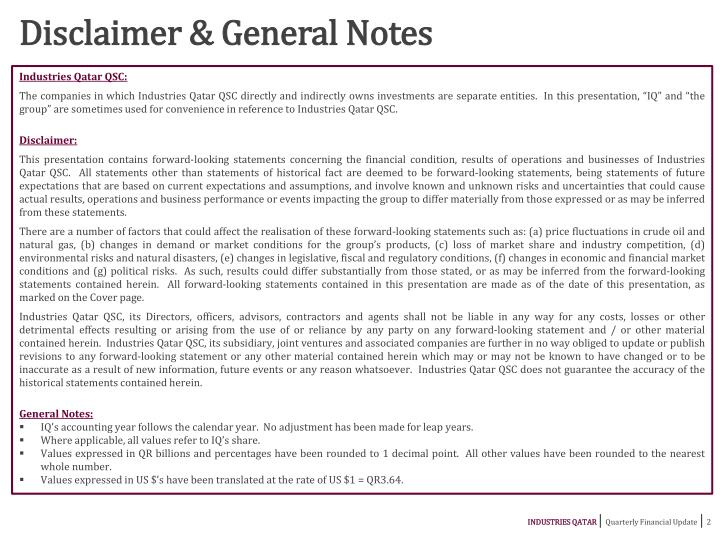 Disclaimer & General Notes