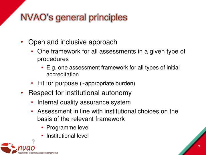 NVAO's general principles