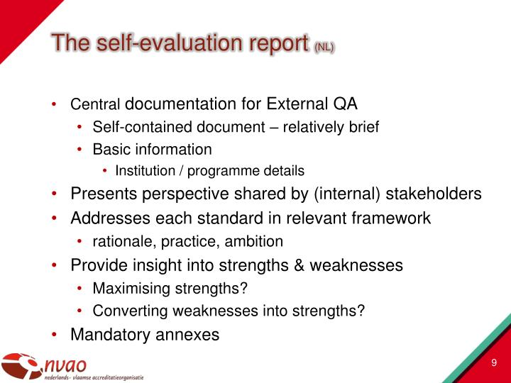The self-evaluation report