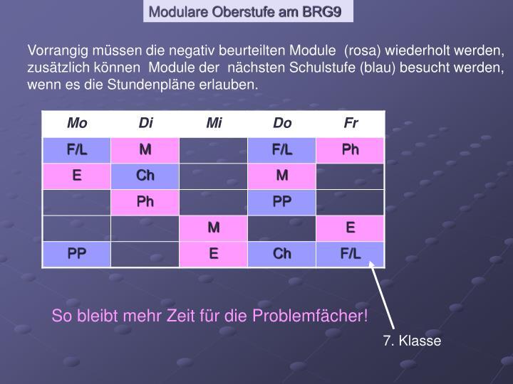 Vorrangig müssen die negativ beurteilten Module  (rosa) wiederholt werden,