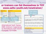 or trainers can list themselves in toy www salto youth net newtrainer