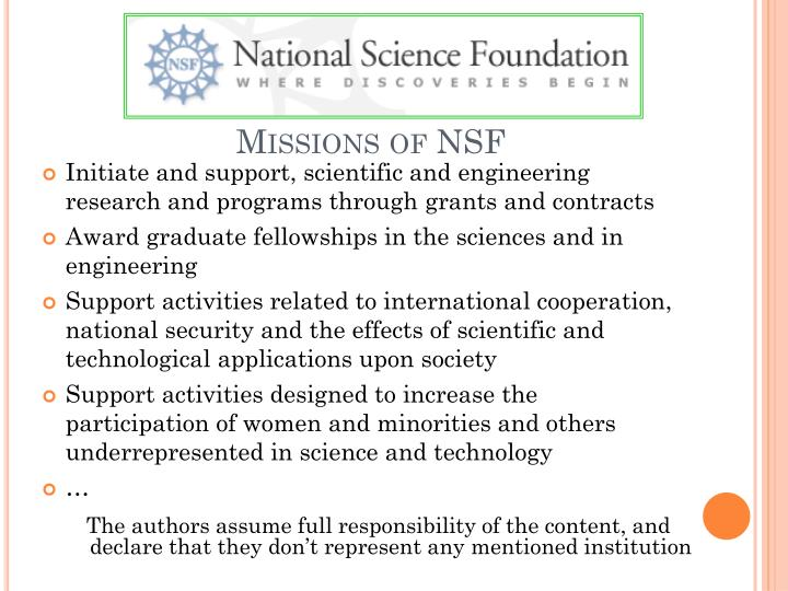 Missions of NSF