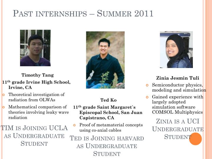 Past internships – Summer 2011