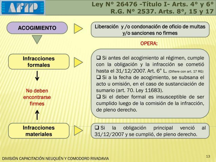 Ley N° 26476 -Título I- Arts. 4° y 6°