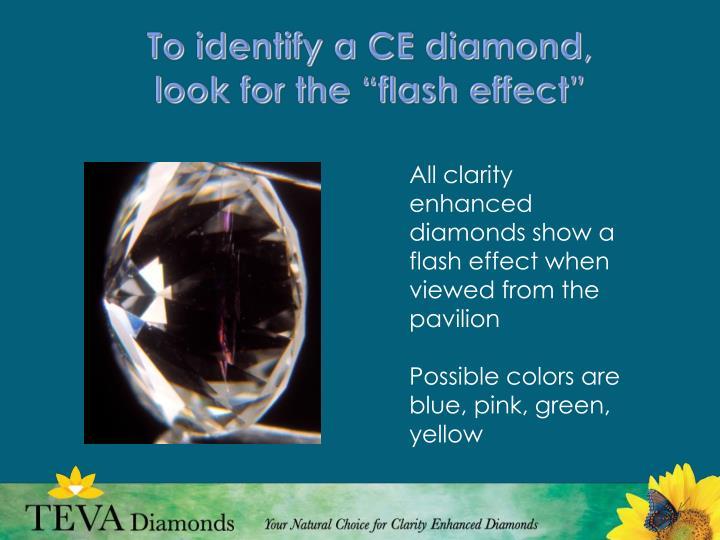 To identify a CE diamond,
