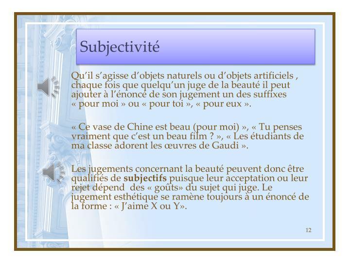 Subjectivité