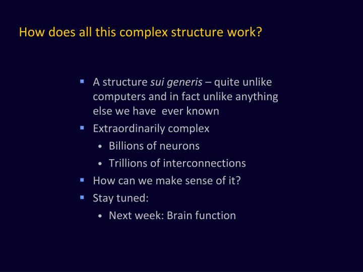 How does all this complex structure work?
