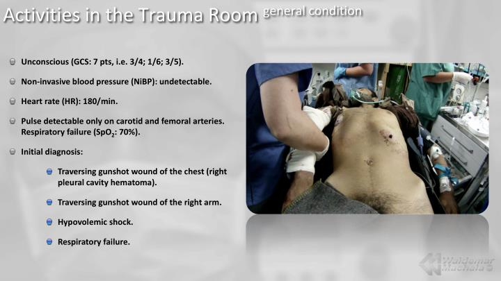 Activities in the trauma room general condition