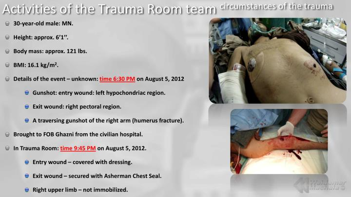 Activities of the trauma room team circumstances of the trauma