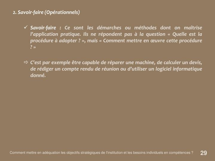 2. Savoir-faire (Opérationnels)