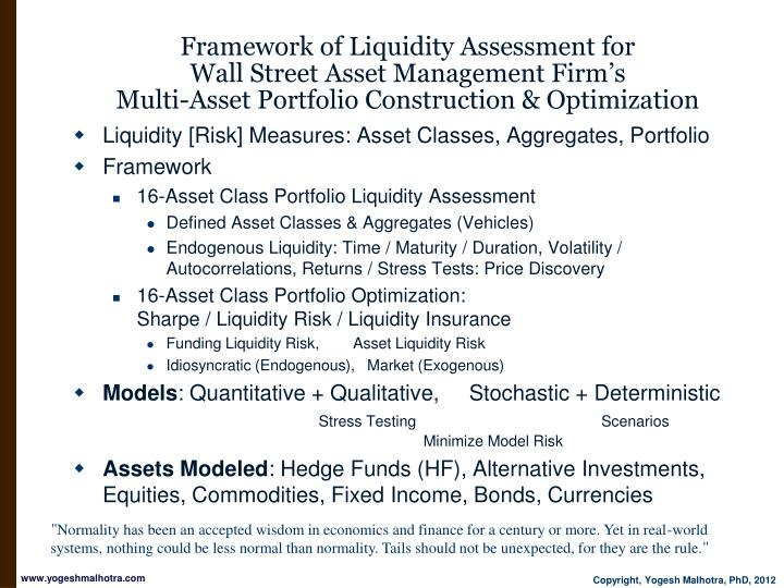 Framework of Liquidity Assessment for