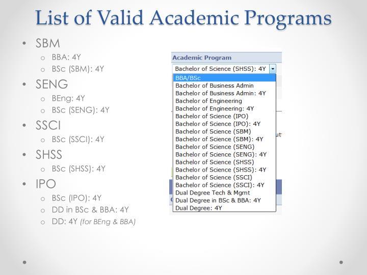 List of Valid Academic Programs