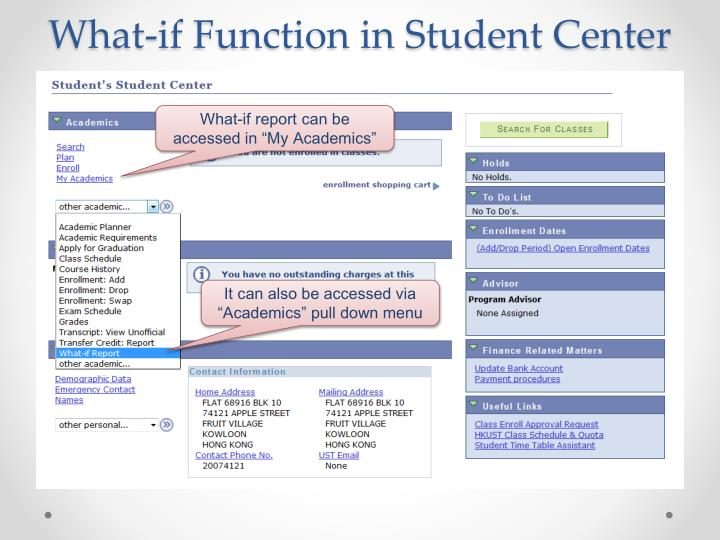 What-if Function in Student Center