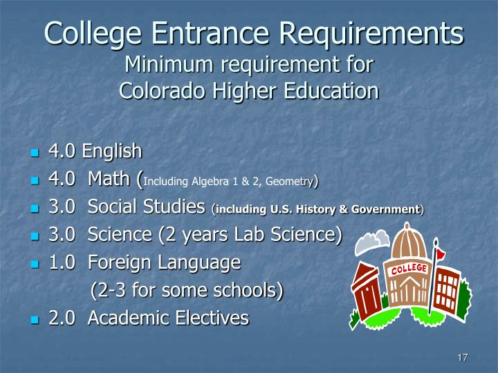 College Entrance Requirements