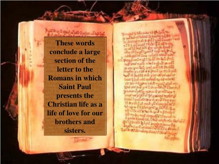 These words conclude a large section of the letter to the Romans in which Saint Paul presents the Christian life as a life of love for our brothers and sisters.
