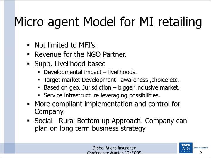 Micro agent Model for MI retailing