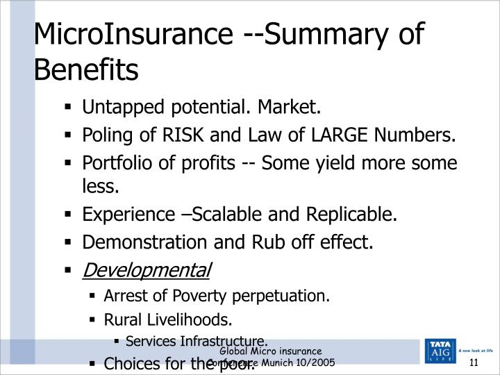 MicroInsurance --Summary of  Benefits