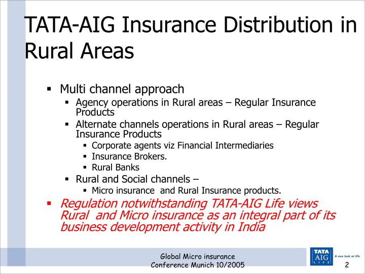 TATA-AIG Insurance Distribution in Rural Areas