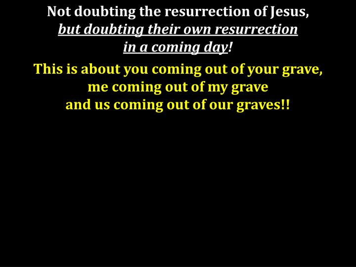 Not doubting the resurrection of Jesus,