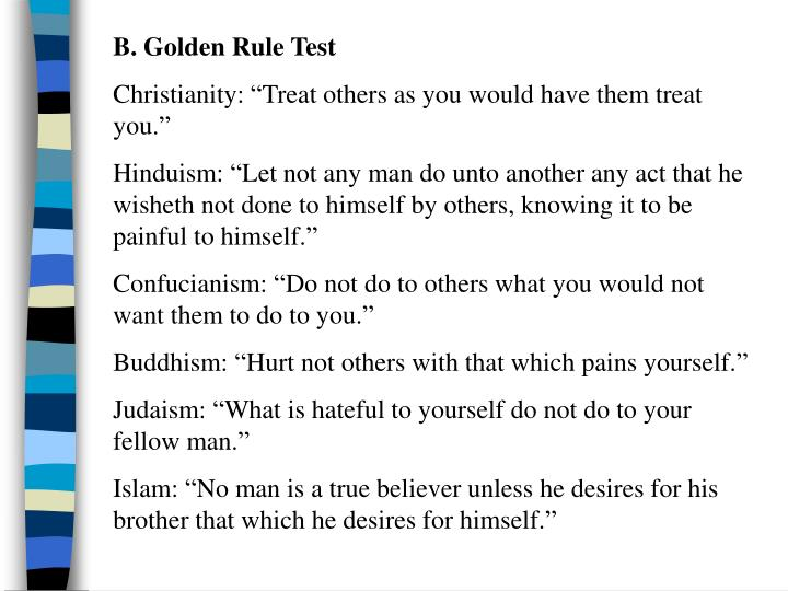 B. Golden Rule Test