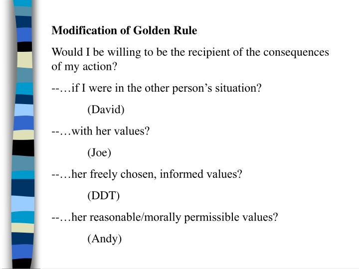 Modification of Golden Rule