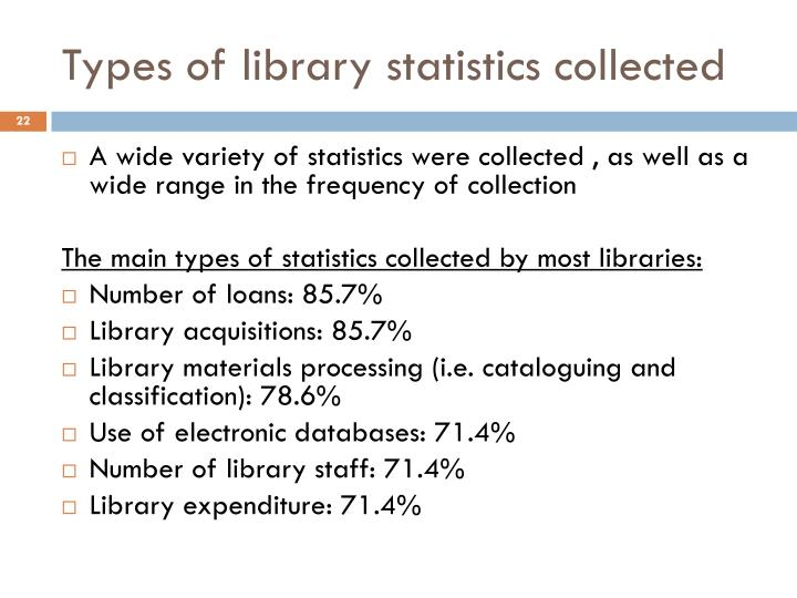 Types of library statistics collected