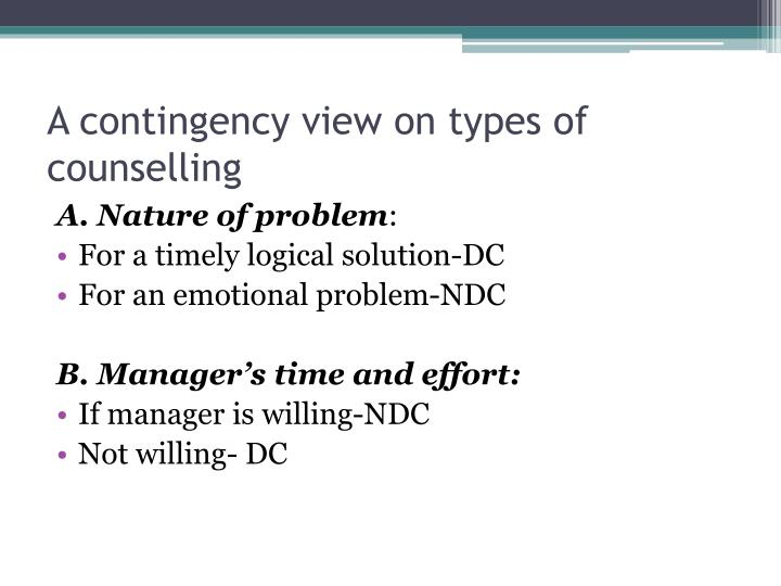 A contingency view on types of counselling