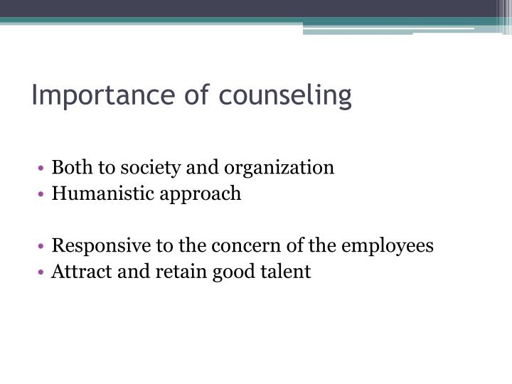 Importance of counseling