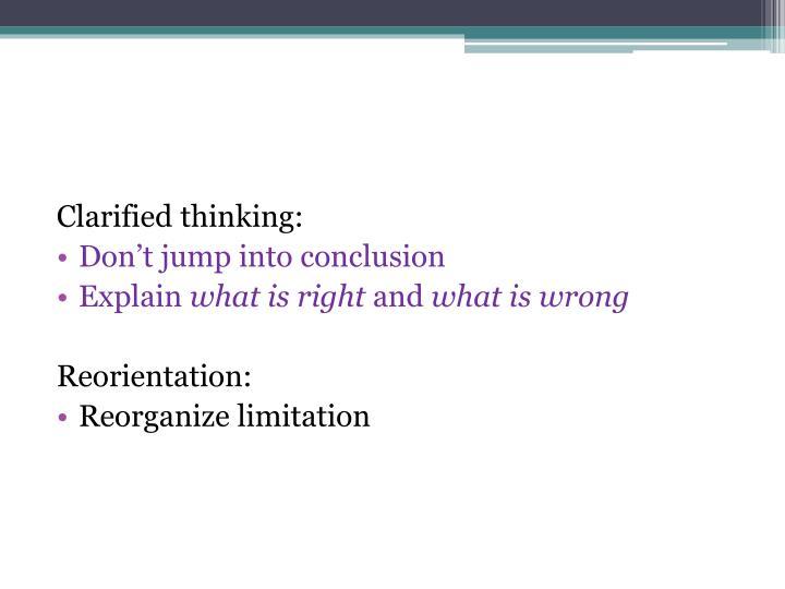 Clarified thinking: