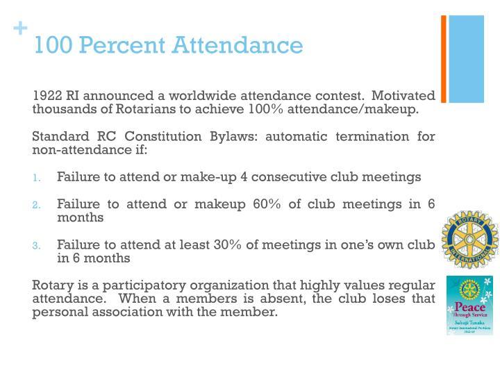 100 Percent Attendance