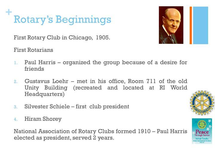 Rotary's Beginnings