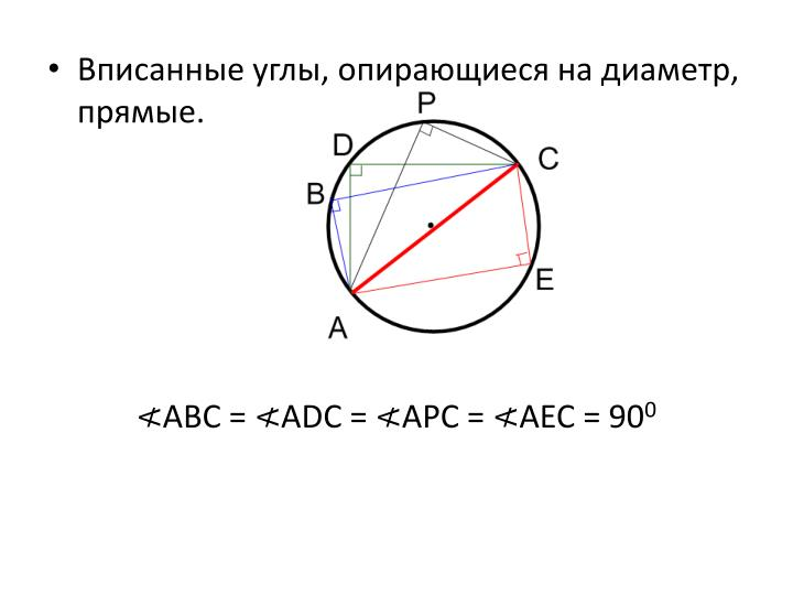 Вписанные углы, опирающиеся на диаметр, прямые.