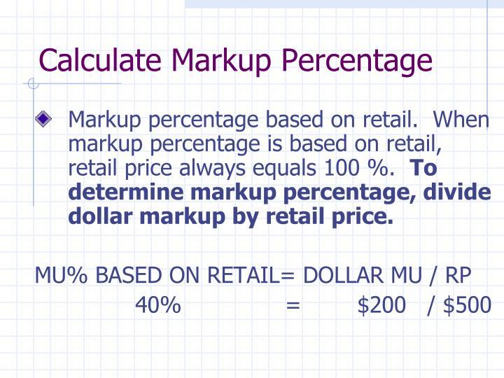 Calculate Markup Percentage