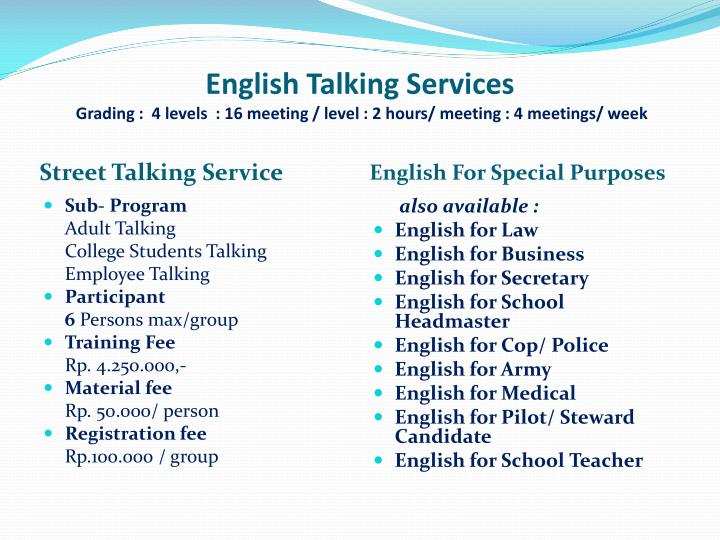English Talking Services