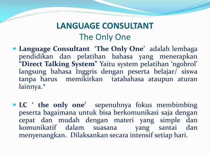 LANGUAGE CONSULTANT