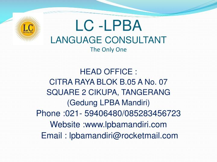 Lc lpba language consultant the only one