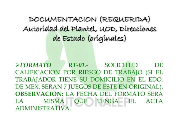 DOCUMENTACION (REQUERIDA)